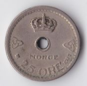 Norway, Haakon VII, 25 Ore 1927, VF, WE2178
